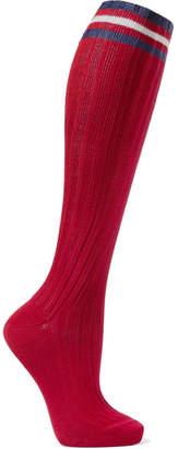 Maria La Rosa Striped Ribbed Cotton Knee Socks - Claret