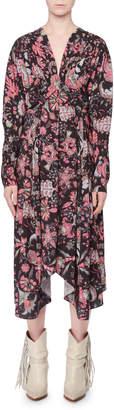 Isabel Marant V-Neck Long-Sleeve Printed Techno Long Dress