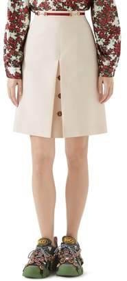 Gucci Button Front Pleated Skirt
