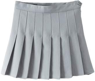 IBTOM CASTLE Women High Waist Cheerleader Pleated Mini Tennis Short Skater Flared Skirt L