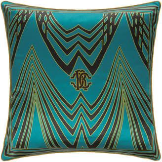 Roberto Cavalli Deco Silk Cushion - Teal - 40x40cm