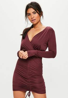 Missguided Purple Slinky Plunge Wrap Gathered Dress