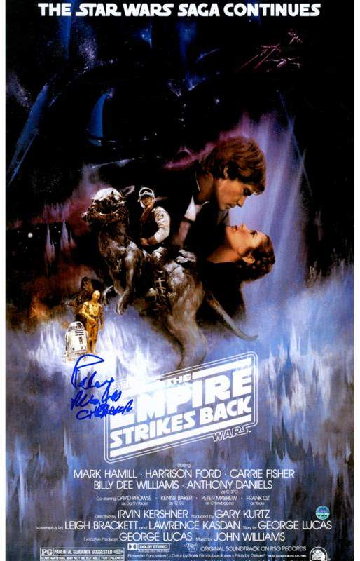 """Peter Mayhew Signed """"Chewbacca"""" Star Wars Episode V: The Empire Strikes Back 11"""" x 17"""" Movie Poster"""