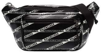 Balenciaga black logo print crossbody bag