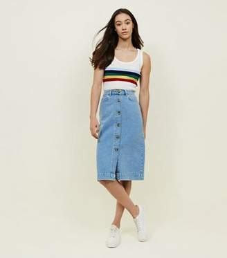 New Look Bright Blue Button Up Denim Midi Skirt