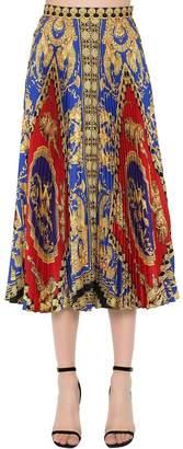 Versace Plisse Printed Twill Midi Skirt