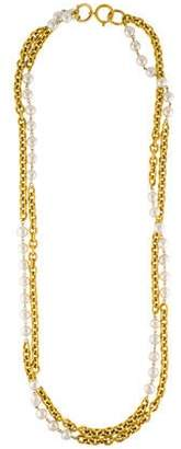 Chanel Faux Pearl Double Strand Chain Necklace