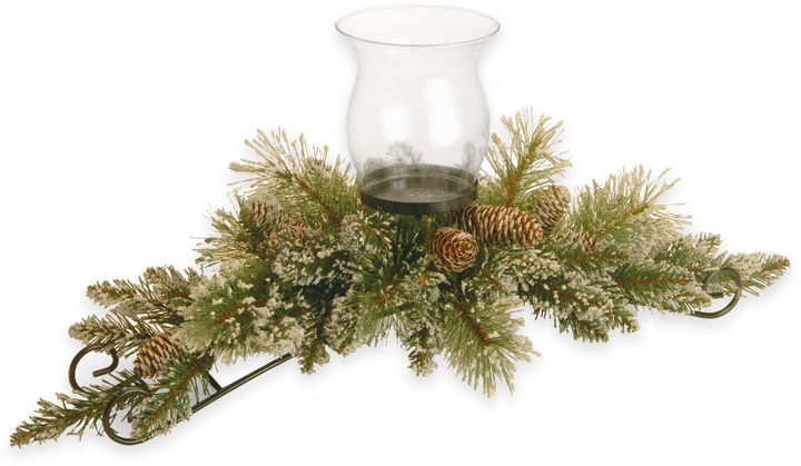 National Tree Company 30-Inch Glittery Bristle Pine Candle Holder with Glass Cup