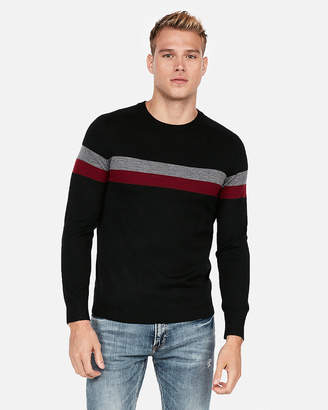 Express Merino Wool Blend Thermal Regulating Stripe Crew Neck Sweater