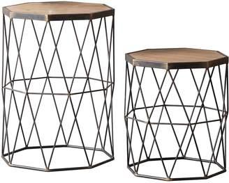 Hudson Living Marshal Set of 2 Metal and Solid Wood Side Tables