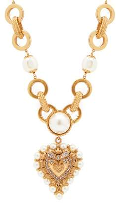 Dolce & Gabbana Faux Pearl And Crystal Embellished Necklace - Womens - Gold