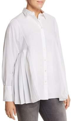 Marina Rinaldi Baghera Side-Pleat Button-Down Shirt