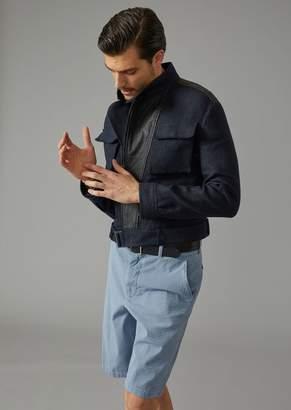 Giorgio Armani Basketweave Linen Blouson With Leather Insert