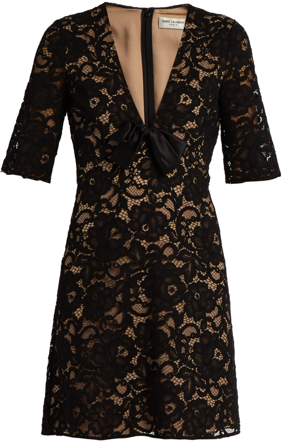 Saint Laurent SAINT LAURENT Deep V-neck guipure-lace mini dress