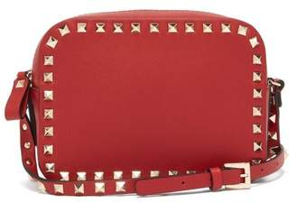 Valentino Rockstud Camera Leather Cross Body Bag - Womens - Red