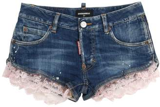 DSQUARED2 Painted Stretch Denim Shorts W/Lace