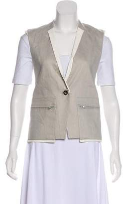 Helmut Lang Leather-Accented Button-Up Vest