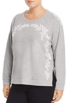 Lucky Brand Plus Embroidered Cotton Sweatshirt