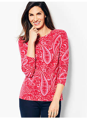 Talbots Novelty Long-Sleeve Crewneck - Cocktail Paisley
