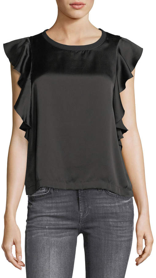 7 For All Mankind Crewneck Satin Side-Ruffle Top