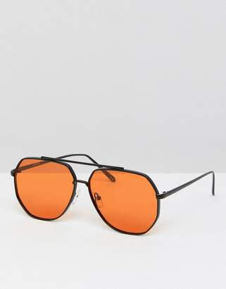 Asos DESIGN Metal Aviator Fashion Sunglasses With Orange Lens