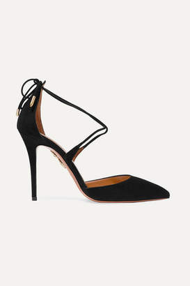 Aquazzura - Matilde Lace-up Suede Pumps - Black $695 thestylecure.com