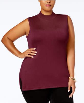 JM Collection Plus Size Mock-Neck Sleeveless Sweater
