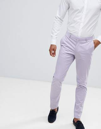Asos Design DESIGN wedding skinny suit pants in stretch cotton in lilac