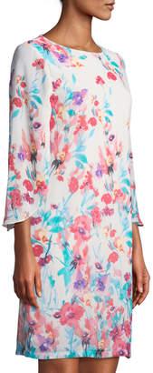 Chetta B Tulip-Sleeve Floral Shift Dress