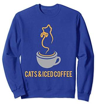 Funny Cute Cats and Iced Coffee Sweatshirt Gift
