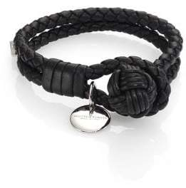 Bottega Veneta Men's Leather Knot Logo Bracelet - Red