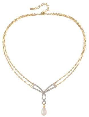 Susan Caplan Vintage 1980s Vintage D Orlan Faux Pearl Swarovski Crystal Necklace