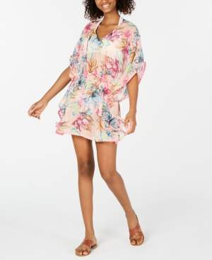 Miken Juniors' Printed Smocked-Waist Cover-Up Dress, Created for Macy's Women's Swimsuit