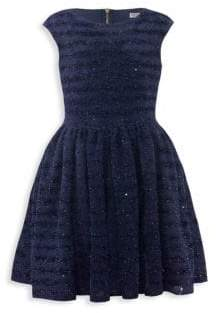 David Charles Girl's Textured Sequined Dress