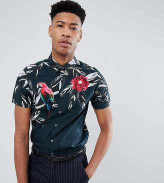 Ted Baker T For Tall slim short sleeved shirt with tropical print