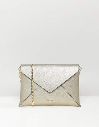 Dune Enria Gold Metallic Envelope Clutch Bag With Detachable Strap