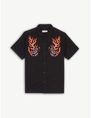 Stella McCartney Rowan flame and dice embroidered cotton shirt 4-16 years
