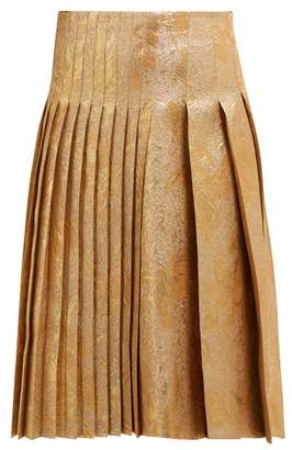 Rochas Metallic Brocade Pleated Skirt - Womens - Gold