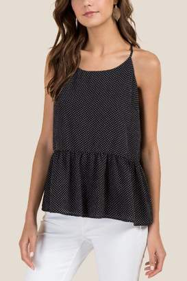 francesca's Carrie Peplum Polka Dot Top - Black