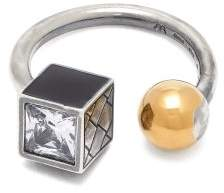Bottega Veneta Sterling Silver And Gold Plated Ball Ring - Womens - Silver