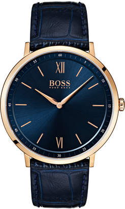 BOSS Hugo Men's Essential Ultra Slim Blue Leather Strap Watch 40mm