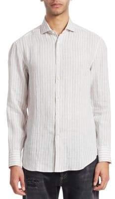Brunello Cucinelli Linen Stripe Button-Down