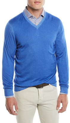 Kiton Men's Washed Cashmere V-Neck Sweater