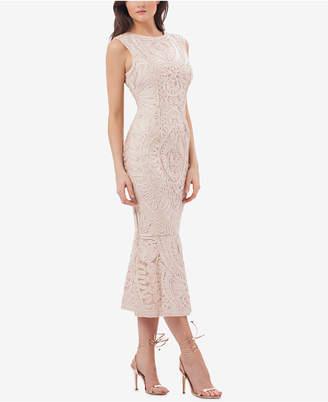 JS Collections Embroidered Soutache Midi Dress
