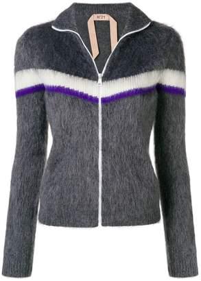 No.21 contrast stripe zipped sweater