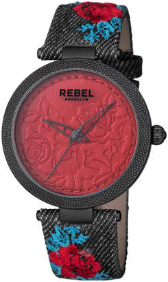 Rebel Brooklyn 40mm Carroll Gardens Watch w/ Leather Strap, Red/Black