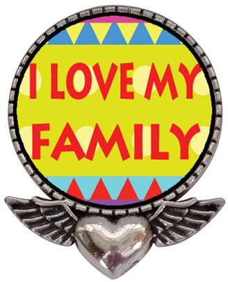 GiftJewelryShop Ancient Style Silver Plate I Love My Family Heart With Angel Wings Pins Brooch