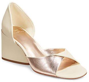 Halston H Lia Folded Cut-Out Block Heel Sandals