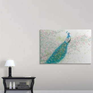 Great Big Canvas 'Spring Peacock I Pink Flowers' by James Wiens Painting Print