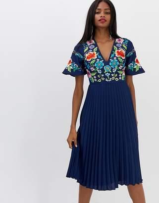 Asos DESIGN pleated embroidered midi dress